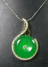 Gold Plate Green JADE Pendant Music Circle Necklace Diamond (Imitation) 280018