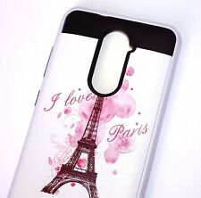 For ZTE ZMAX PRO Z981 - Hybrid Brushed Armor Case Cover Pink Paris Eiffel Tower