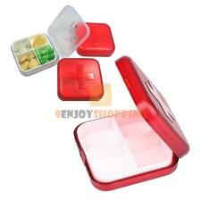 Travel 4 Compartment Pill Box Medicine Tablet Holder Organizer Dispenser Case
