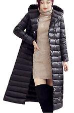 Doudoune Longue Femme Manteau Duvet Plume Canard Légère Mode Hiver Noir EU38
