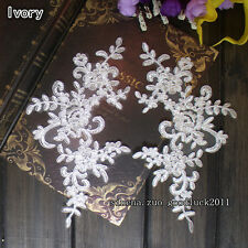 25*12.5cm, 2PC Flower Embroidered Lace Trim Sewing Applique Dress  Decor FL106