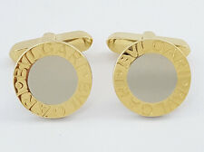 Bvlgari Bulgari Italy Two Tone 18K Yellow Gold & Steel Round Cufflinks 11 Grams