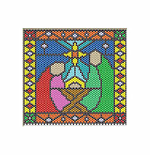Nativity~Joseph, Mary, And Baby Jesus~Beaded Banner Pattern Only