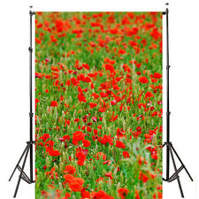5x7ft Red flower Background Photography Backdrop Studio Props Vinyl Cloth Photo
