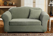 Sure Fit Stretch Royal Diamond Separate Seat Sofa Slipcover Sage Color Box Style