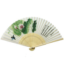 Women Ladies's Wood Handle Fabric Folding Hand Fan 8-inch long, Lotus Painting