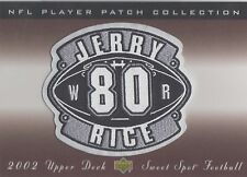 JERRY RICE 2002 SWEET SPOT PATCH FELT STITCHED EMBOCED SWEET HARD HITS OR FONDS