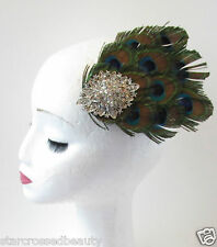 Silver Peacock Feather Fascinator Hair Clip Headpiece Vtg 1920s Flapper 40s Q38