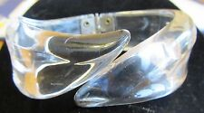 Vtg Retro Lucite CLEAR Clamper Hinge BANGLE BRACELET Thick & Chunky