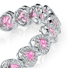 925 Sterling Silver Heart Shaped Pink  CZ Tennis Bracelet with Cubic Zircons