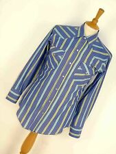 MENS VINTAGE HBARC BLUE BOLD STRIPED 80'S USA WESTERN PEARL SNAP COWBOY SHIRT S