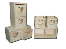 Unpainted Wooden Chest with 2 Heart Shape Drawers/ Keepsake Box/ Souvenir Box