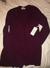 Nanette Lepore Burgundy 100% Cashmere Open Front Long Cardigan Sweater XL NWT