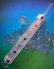 7 INCH CRYSTAL QUARTZ AND SILVER WAND WITH CHAKRA STONES AND CRYSTAL POINT