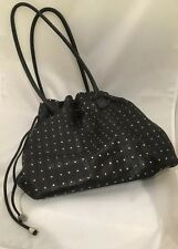 BERGÈ Italy Large Black Leather Tote Shoulder Bag Studded & Drawstring Purse