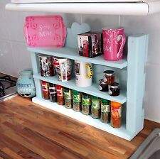 Hand made - shabby chic wooden spice herb rack - shelves holds 66 Schwartz jars'