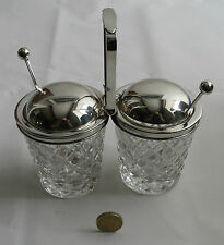 Vintage Cartier silver and crystal double conserve jam/condiments set
