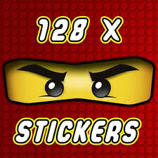 128 x Lego Ninjago Eyes Stickers for Balloons, Bags, Plates, Party Decorations