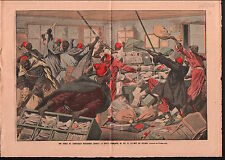 War Muslim Attack la Poste Française Pillage Maroc Morocco 1908 ILLUSTRATION