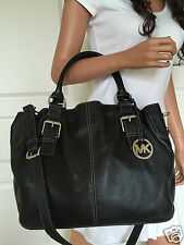 NWT Micheal Kors Brookville Large Black Leather Shoulder Crossbody Bag Purse