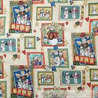 BonEful Fabric FQ Cotton Quilt Tan White Blue Snowman Country Xmas Dog Red Heart