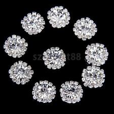 10 Clear Crystal Diamante Buttons Flatback Embellishment Wedding Craft 15mm