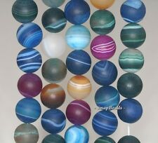 12MM PARTY MIXED AGATE GEMSTONE RAINBOW STRIPED MATTE ROUND LOOSE BEADS 7.5""