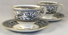 Wedgwood FLORENTINE BLACK 2 Cup & Saucer Sets W4312 GREAT CONDITON