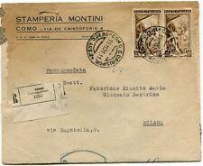 1951 Italia al Lavoro RACCOMANDATA Stamperia Montini Como Fabbriche F.R.A.G.D.