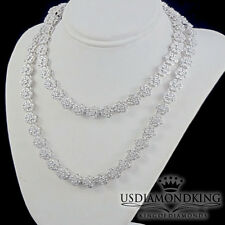 2 Ct Genuine Real Diamond White Gold Over Sterling Silver Flower Necklace Chain