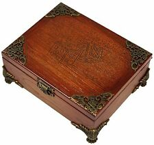 HANDMADE WOODEN CARVED BACKGAMMON BOX CHIPS AND DICE SET CASE FINE ASH-TREE WOOD