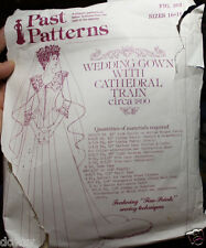 PAST COSTUME PATTERNS 303 1890 VICTORIAN WEDDING DRESS GOWN W/CATHEDRAL TRAIN