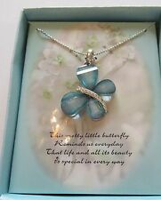 Necklace Butterfly Pendant greenish bllue- sparkly -silver color chain- gift box