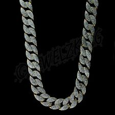 MENS ICED OUT 14K GOLD FINISH SILVER GLITTER DESIGNER STYLE CUBAN CHAIN NECKLACE