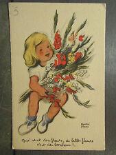 cpa fantaisie illustrateur andré penac fillette bouquet de fleurs