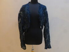 487 BLUE TRANSPARENT BEADED LACE JORDAN FASHIONS JACKET/ SWEATER XXXL
