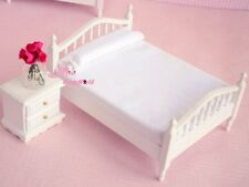 1:12 Dollhouse Miniature Wood Pure white Bedroom Bed Sidestand