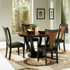 Coaster Boyer Round Dining Table in Black and Cherry Transitional