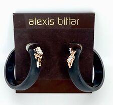 Alexis Bittar Smoky Dust Slim Hoop Earrings Peacock Black Lucite MSRP $175