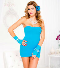 ML-6987 Sexy Stripper Gogo Dancer Rave Clubwear Turquoise Tube Top Mini Dress