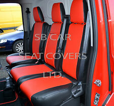 TO FIT A FORD TRANSIT CUSTOM  VAN SEAT COVERS RED / BLACK LEATHERETTE