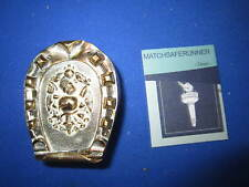 C.1880 HUNTING DOGS HORSE SHOE SHAPE MATCH HOLDER VESTA CASE MATCH SAFE STRIKER