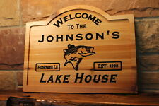 Custom Wood Sign Name Personalized Gift Fishing Cabin Lake Home Decor Carved