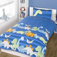 DINOSAURS SINGLE DOONA COVER & PILLOWCASE SET BOYS BEDDING NEW BLUE