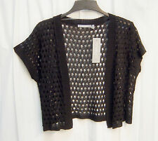 BLACK OPEN FRONT/WEAVE KNIT CROCHET CROP CARDIGAN JACKET SWEATER SHRUG TOP~1X