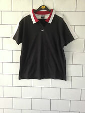 URBAN VINTAGE RETRO BLACK NIKE ATHLETIC SHORT SLEEVE POLO TOP T SHIRT UK 12-14