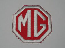 MOTORSPORTS RACING CAR SEW ON / IRON ON PATCH:- MG (b) WHITE & RED INITIALS