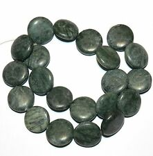 NG2035f Green Marble Flat Puff Round Coin 19-20mm Gemstone Beads 15""