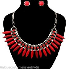 Red Textured Rhinestone & Beads Bohemian Style Spike Collar Necklace Set