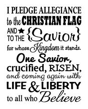 CHRISTIAN PLEDGE Words Lettering Wall Decal Subway Quote Art Decor Sticky